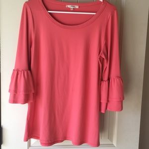 NWOT Coral tunic top with bell sleeves.
